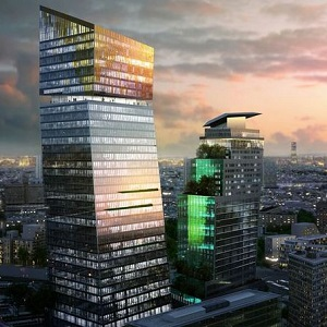 The Duo officer towers, being built in Paris by Ivanhoé Cambridge, shown in an artist's rendering.