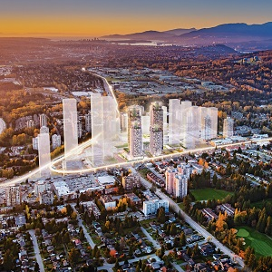 An artist's rendering of the Lougheed Town Centre mixed-use and shopping centre project planned for the B.C. city.