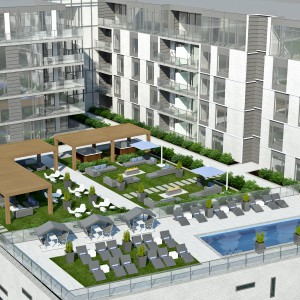Le M Montreal-Est condominiums, being built by Groupe Magma, will feature a large open terrace atop the retail podium.