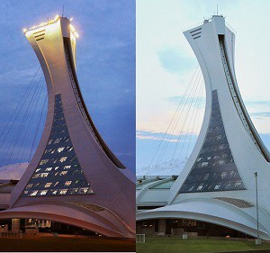 Day and night views of the Montreal Olympic Stadium Tower is it will appear when it has been renovated to create about 180,000 square feet of office space.
