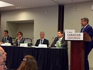 Panelists discuss multi-family strategies and projects at the Canadian Apartment Investment Conference in Toronto on Sept. 6, 2017.