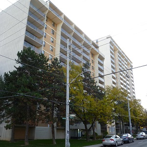 This apartment complex at 145 Queen St., in Hamilton is one of 11 buildings in the Southern Ontario city which was sold by Skyline Apartment REIT to Q Management LP. Skyline is now seeking new investments in its traditional focus, secondary and tertiary markets. (Image courtesy Skyline Apartment REIT)