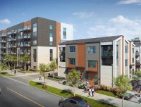 The Daniels First Home Markham Sheppard community will feature 328 contemporary condos and townhomes, with 30 per cent made available as affordable housing. (Rendering courtesy Daniels Corporation)