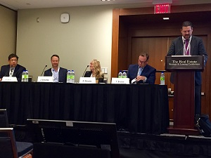 Experts on the downtown office panel discuss real estate leasing disruptors during the Toronto RE Strategy and LEasing Conference. (Steve McLean photo)