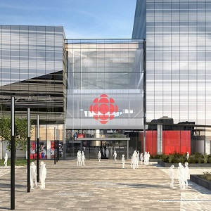 The new CBC/Radio-Canada building in Montreal will be part of a major development at the eastern edge of the city's downtown.