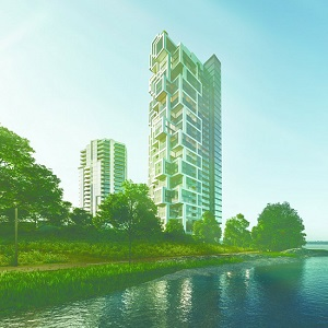 The Symphonia POP tower is being built on Montreal's Nuns' Island. (Rendering courtesy Symphonia Developments)