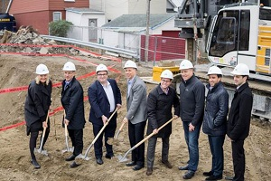 Marlin Spring executives and dignitaries hoist shovels to mark the groundbreaking for CANVAS Condominiums on Danforth Ave. in Toronto. Canvas is over 90 per cent sold, with occupancy slated for June 2019. (Photo: Cezil Jondonero)