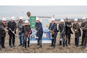 The sod is turned for the first industrial / commercial development at a 95-acre Highway 400 site operated by Strathallen Capital in Bradford-West Gwillimbury.