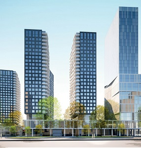 Devimco's EstWest condo towers are part of the Square Children's development in Montreal.