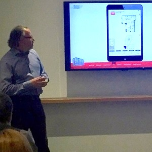 Salefish founder and managing partner Rick Haws talks about the firm's software during a presentation in Toronto. (Steve McLean photo)