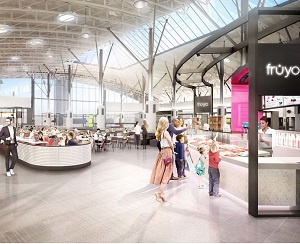 An artist's rendering of the new dining hall to be constructed at the CF Chinook Centre in Calgary.