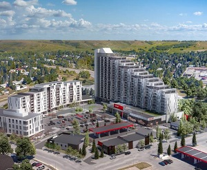 Calgary Co-op's $300-million Dalhousie redevelopment includes two residential towers containing 440 units, a Co-op grocery store, office space, a liquor store, gas bar and convenience store.