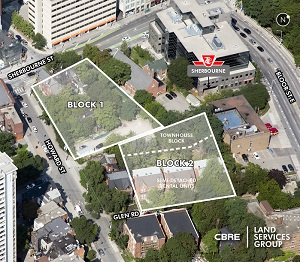 These two blocks of redevelopment land at Howard and Sherbourne in downtown Toronto have been sold to Concert Real Estate Corp. CBRE was the broker in the sale.