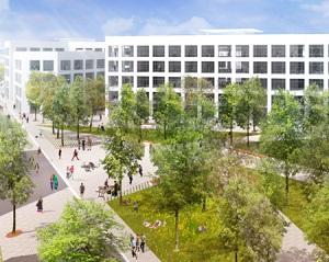 "Artist's rendering of a new ""green"" neighbourhood as part of Montreal's Technôpole Angus development."