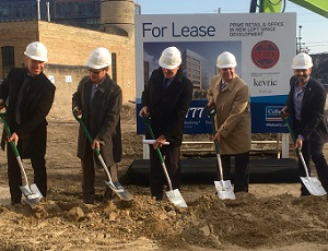Officials and VIPs turn the first shovels of dirt at Kevric's 99 Atlantic office development in Toronto.