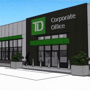 A rendering of the future TD corporate office in the CF Champlain shopping centre in Dieppe, N.B. It will occupy a former Sears location.