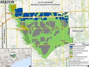 The so-called Seaton Lands in Pickering. Areas designated for employment lands are marked in blue, generally bordering Highway 407.