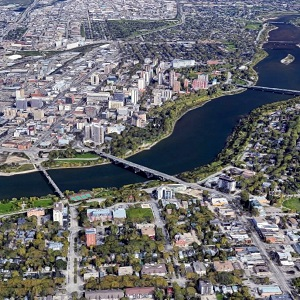 Image showing portion of downtown Saskatoon. A continuing oversupply of apartments in the city is now driving rental rates down.