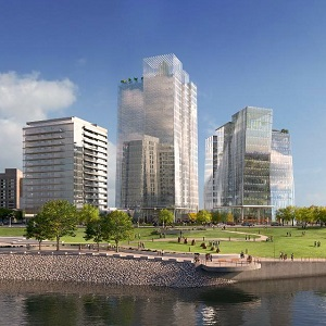 The East Tower of the River Landing office complex is now being constructed in Saskatoon.