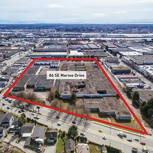 86 Southeast Marine Drive in Vancouver has been purchased by Hungerford Properties, which plans to redevelop the industrial/commercial site.