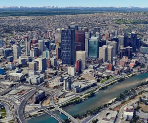 Image shows the downtown Calgary Central Business District.