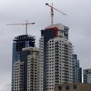 Cranes are a familiar site these days over downtown Edmonton.