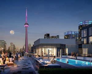 Rendering of pool and terrace at Minto's 39 Niagara rental apartment tower in Toronto.