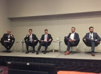 From left to right in the photo, moderator and panelists Richard Diamond, Casey Gallagher, Bryce Gibson, Steve Keyzer and Mehdi Shokri discuss land sales and market conditions at the Toronto conference.