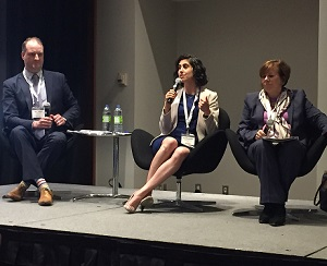 Image showing panelists, from left, Altus Group's Matthew Boukall, Hines' Alexandra Khazzam and GWL Realty Advisors' Anne Morash.
