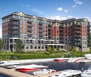 A rendering of Caraco's Stone & South luxury condominiums in Gananoque, Ont.