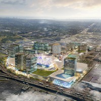 Rendering of the Royalmount development by Carbonleo on the Island of Montreal.