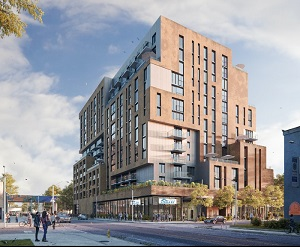 Artist's conception of 299 Campbell, a TAS Design Build mixed-use apartment building which will also include a Toronto Public Library branch.