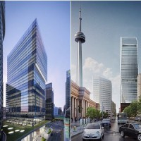 Renderings of: Cadillac Fairview is developing both 16 York, left, and 160 Front St., West in Toronto.
