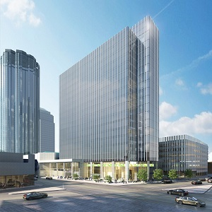 Image: Architect's rendering of HSBC Bank Place in Edmonton, following renovations.