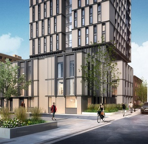 IMAGE: The U of T and Daniels Corp. will build this 23-storey student residence at Spadina and Sussex streets.