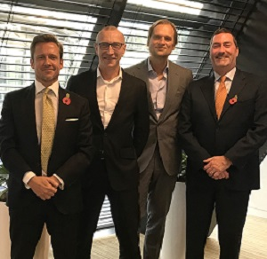 IMAGE: From left, Jason Sibthorpe, Principal and U.K. managing director, Avison Young; Gerry Hughes, CEO, GVA; Andreas Aschenbrenner, Partner, EQT Partners; Mark Rose, chair and CEO, Avison Young. (Image courtesy Avison Young)