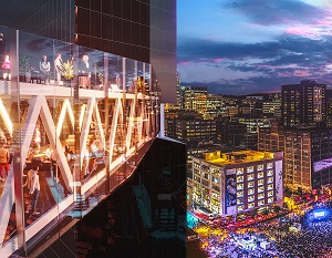 IMAGE: The Skybox in MAESTRIA will overlook a festival and arts plaza in Montreal's District des spectacles. (Rendering courtesy Fonds immobilier de solidarité FTQ)