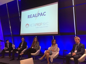IMAGE: MetaProp NYC's Zak Schwarzman moderated a discussion with Enertiv's Connell McGill, Waypoint's Diane Vrkic, Manulife's Maria Aiello and RYCOM's Casey Witcowicz. (RENX photo, Steve McLean)