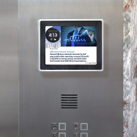 IMAGE: Captivate provides digital video screens and content for elevators and building common areas. (Image courtesy Captivate)