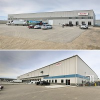 IMAGE: Two of the five Saskatoon industrial properties being sold by Pillar Properties. (Images courtesy Colliers)