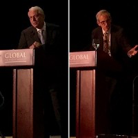 IMAGE: Robert White, left, and Jacques Gordon speaking at the 2018 Global Property Market conference in Toronto. (Steve McLean RENX)