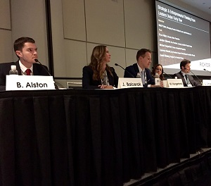 IMAGE: Young executives panelists Bryce Alston, Michael Hungerford, Laurence Vincent, Daniel Winberg and Jennifer Balcerak at the Toronto Real Estate Forum. (RENX photo, Steve McLean)