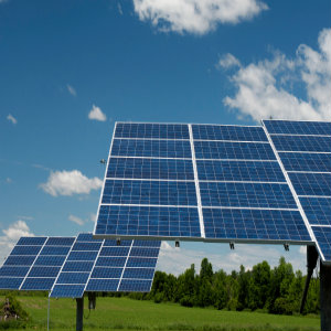 An array of solar panels in Ontario.