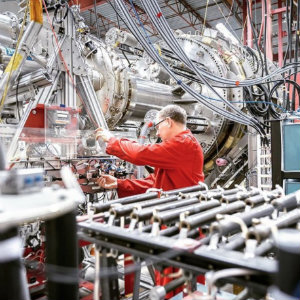 A scientist works on General Fusion's prototype at its Burnaby, B.C. lab