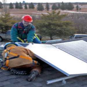 An Alberta home getting a solar array installed
